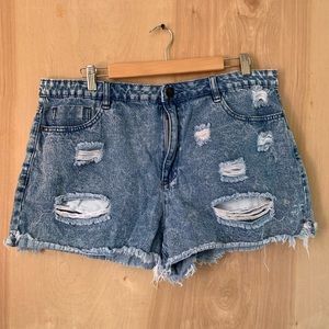 Forever 21+ distressed denim jean shorts